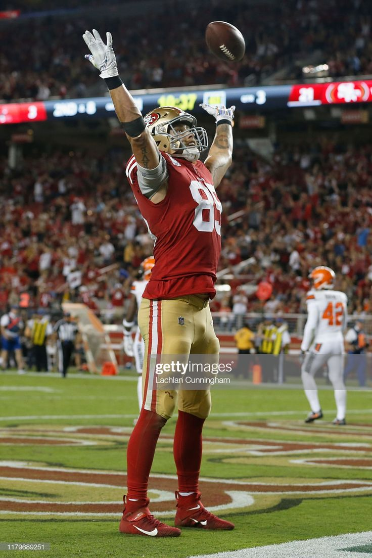 Kittle of the San Francisco 49ers celebrates after