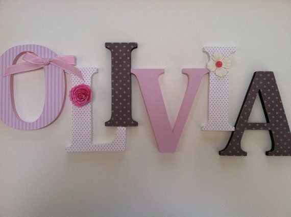 Alphabet Wooden Letters For Nursery In Pink White By Summerolivias Ab S Pinterest And