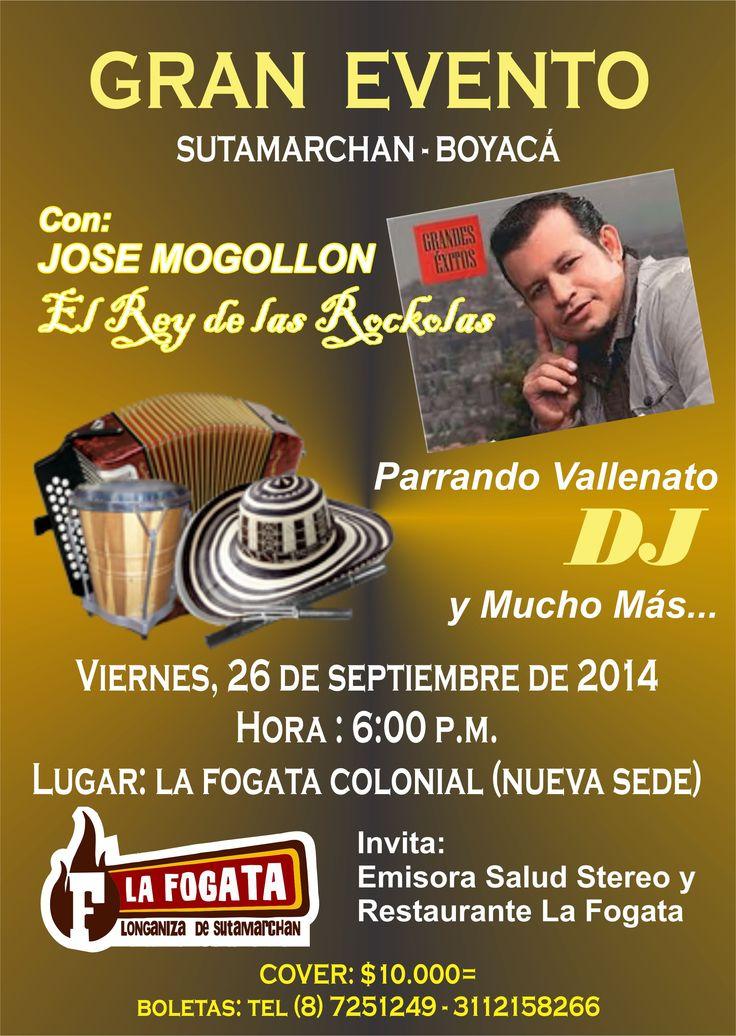 GRAN EVENTO: Restaurante la Fogata Colonial (Nueva Sede) Viernes 26 de Septiembre de 2014