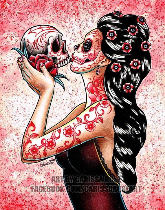 Eeuwigheid Art Print - 5 x 7, 8 x 10 of 11 x 14 - dag van de dode suiker schedel meisje schedel Tattoo Flash kussen bloemen Pin Up rode en roze