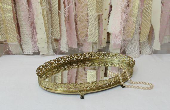 Vanity Makeup Mirror Mirrored Tray Boudoir Gold Brass Vintage Antique Baby Nursery Decor Bathroom Bridal Baby Shower Decor (24.99 USD) by OnceUponaTimeFinds