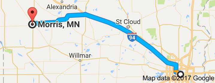 Map from Twin Cities to Morris, Minnesota