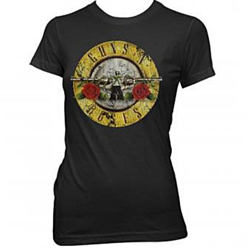 Official Guns n Roses black girls babydoll shirt.featuring classic bullet logo design in distressed print for that authentic vintage look!.  Available here: http://heavymetalmerchant.com/product/guns-n-roses-distressed-bullet-girlie-shirt