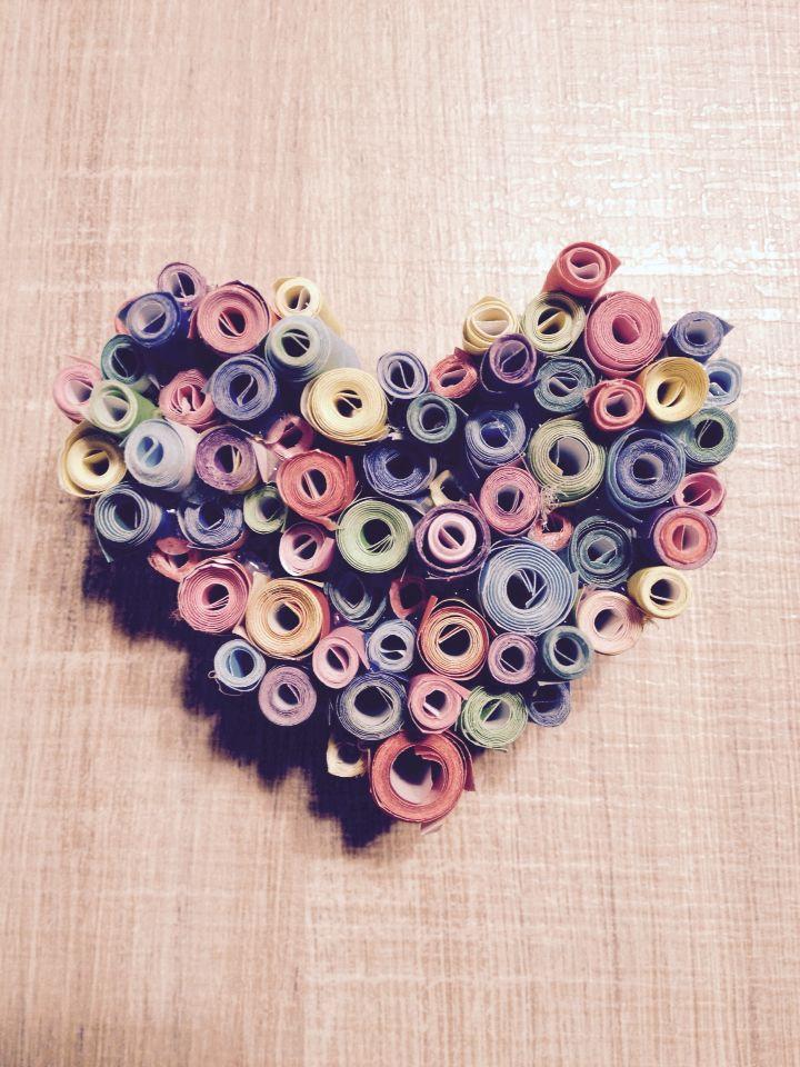Cuori di carta, #pastello #cuore #quilling