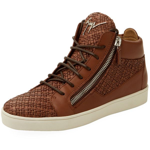 Giuseppe Zanotti Men's Leather High-Top Sneakers - Brown, Size 43 (€350) ❤ liked on Polyvore featuring men's fashion, men's shoes, men's sneakers, brown, mens zipper shoes, mens shoes, mens high top shoes, mens hi tops and mens brown leather sneakers