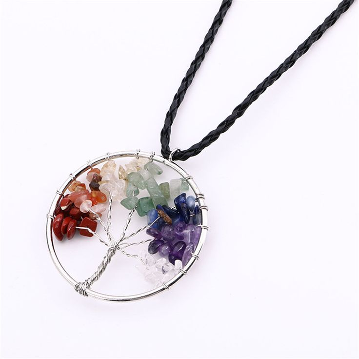 7 Chakra Stone Beads Life of Tree Necklaces Natural Citrine Amethyst Agate Leather Chain Pendant Necklace Christmas Gifts