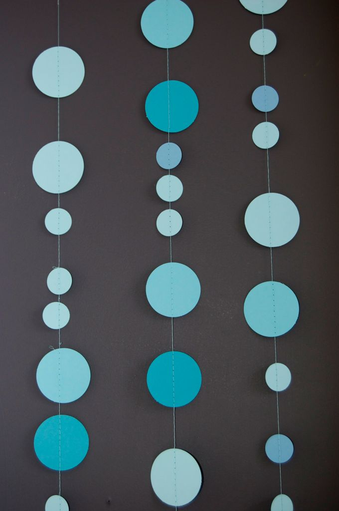 {Tutorial} Sewn Circle Garland: I made with with the school colors for Spencer's graduation & it was super simple but so cute.