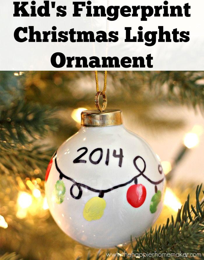 DIY Kid's Fingerprint Ornament such a cute idea to make it look like Christmas lights!
