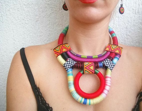 Lamia, Statement necklace Bib necklace Rope necklace Boho Ethnic necklace…
