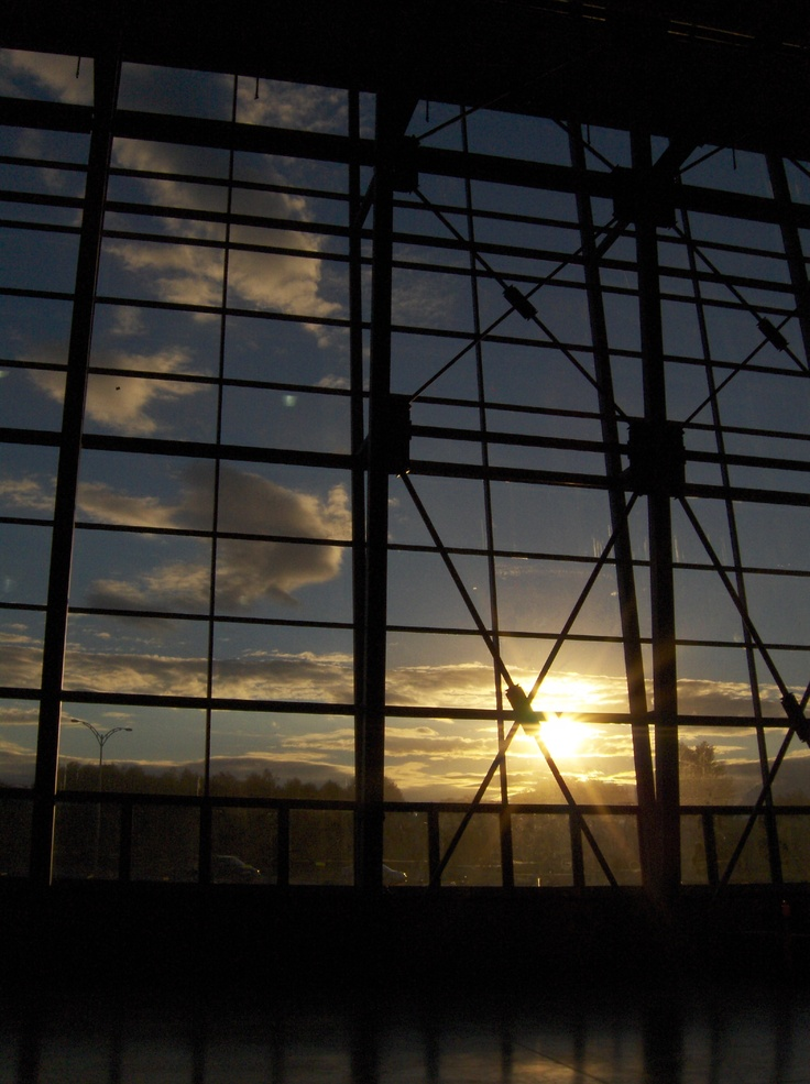 Sunset over BCIT's Aerospace Technology Campus airplane hangar, Richmond, BC.