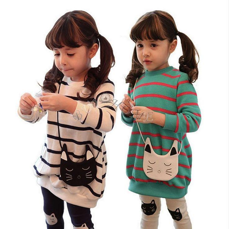 Cute Girls Striped Long Top Shirt Dress +Cat Leggings Pants Kids