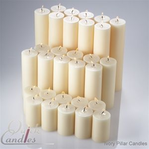 """Ivory Hand Poured Pillar candles unscented 2""""x3"""", 2""""x6"""", 2""""x9"""" set of 30 (10 of each size) $69.99"""