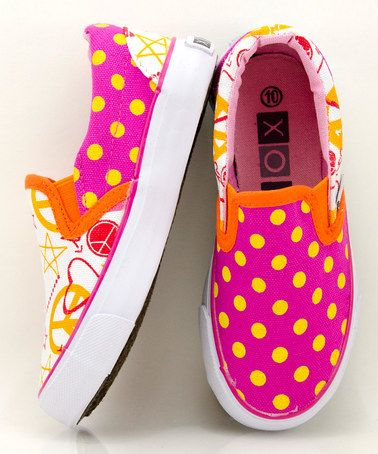 One of my new fave brands for kids shoes-XOLO....spot on for Summer 2013 colors with the orange and hot pink. Cannot get cuter! Plus, only $18 at Zulily right now.  Orange & Pink Doodle Slip-On Sneaker by XOLO Shoes on #zulily today!
