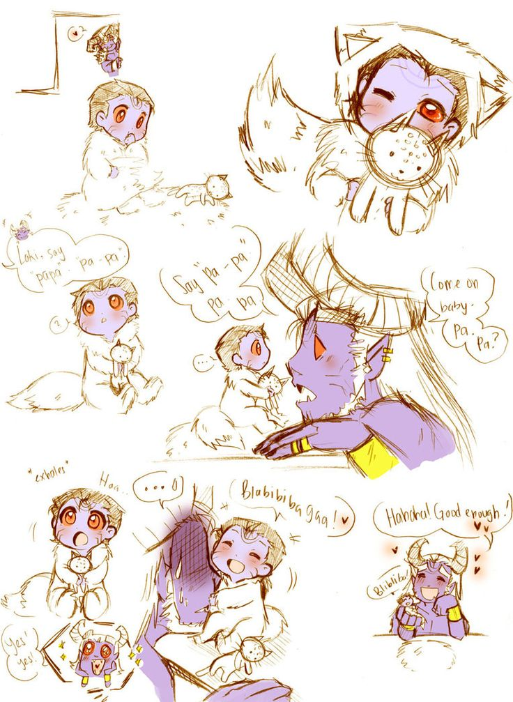 More Baby!Jotun!Loki AU. Gosh! I think I'm getting addicted to drawing bby!Jotun!Loki and Dotting!Papa!Laufey. And this time I even drew middle brother Helblindi. >w< I still haven't drawn el...