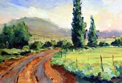 Farm Road in the Karoo, South Africa. Red soil and sunlight over the veld! (Oil on panel available at http://www.malcolmdeweyfineart.com/paintings-for-sale.html)