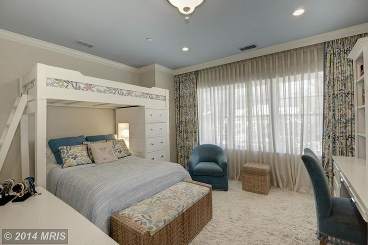 Contemporary Kids Bedroom with Crown molding, Schoolhouse Stairway Loft with Chest End - White, High ceiling, flush light