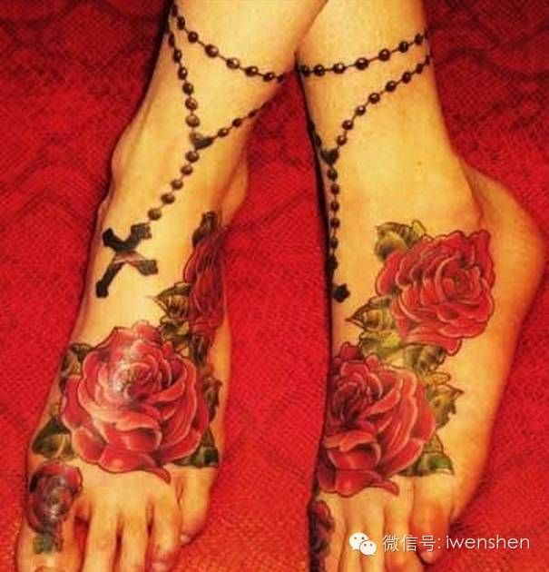 Rosary Roses Tattoo On Ankle And Foot