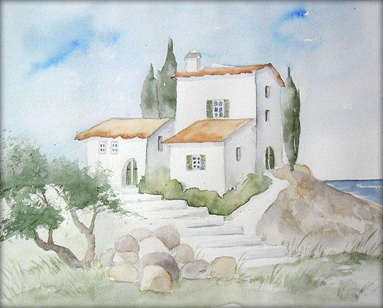Finca auf Mallorca - Aquarell - 24 x 30 cm - Original