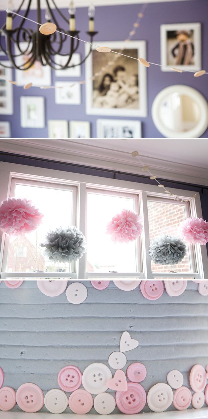 pink and gray cute-as-a-button party