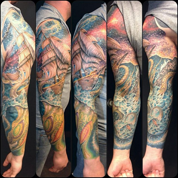 Arm sleeve tattoo. Tall ship, kraken, ocean scene ...