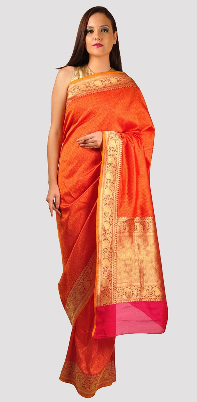 Mustard And Magenta Tanchoi And Zari Banarasi Weave Pure Silk Saree