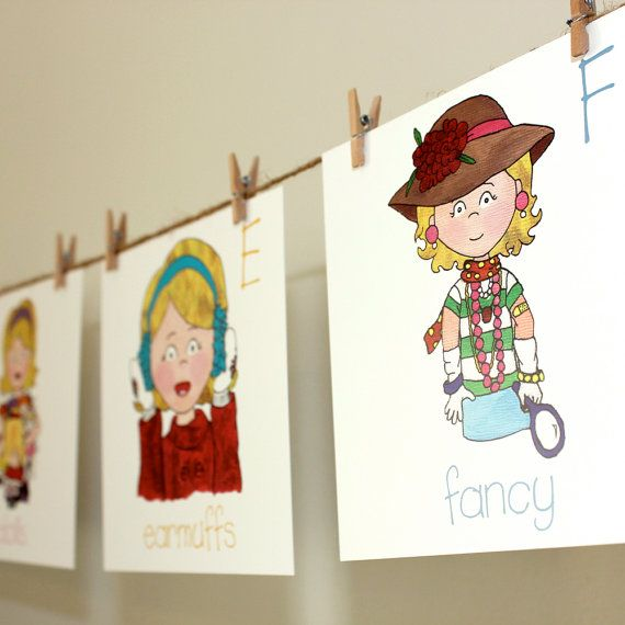 Alphabet Wall Cards Blonde Girl  Back to School by heidibg on Etsy, $35.00Back To School