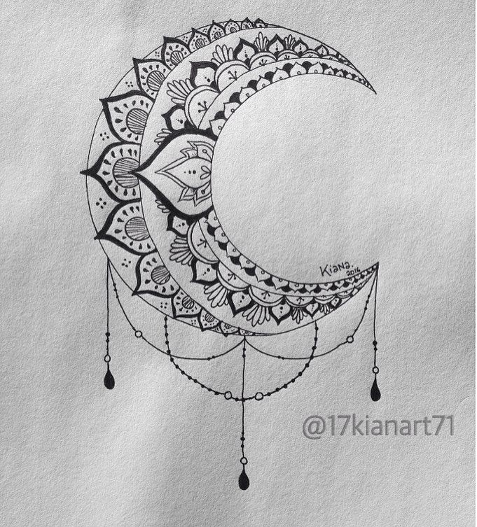 B&W Moon Mandala Design   #art #creative #drawing #mandala #moon #zentangle #tattoo#young_artists_he - 17kianart71