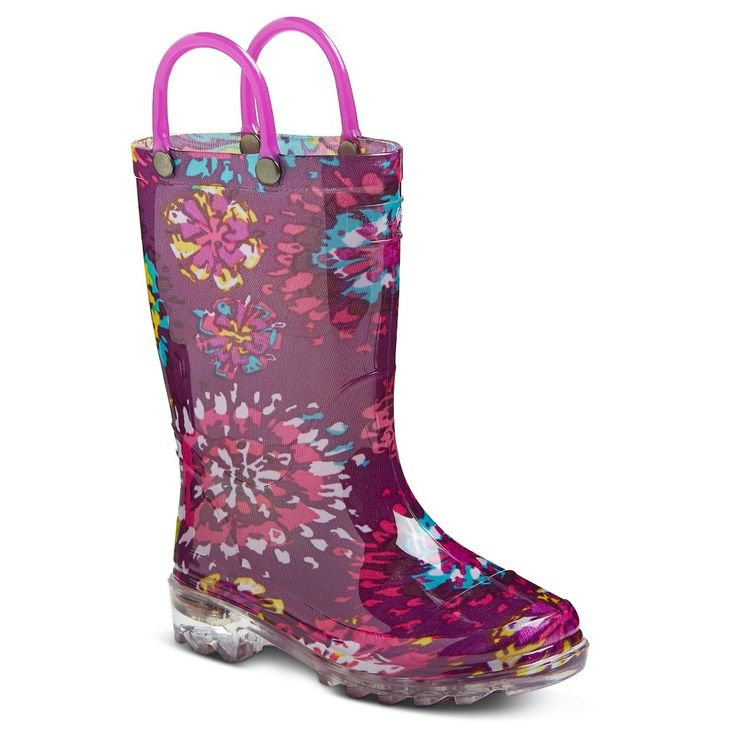 Toddler Girls' Light Up Western Chief Rain Boots Purple XL, Toddler Girl's