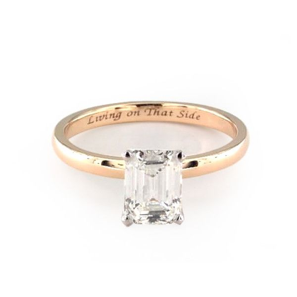 Emerald Cut Solitaire with Yellow Gold Band