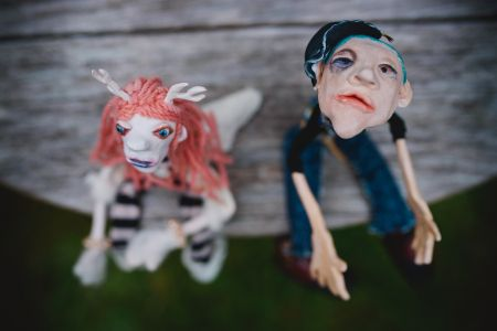 Meet The Rascal's ooak art dolls made by hand from Polymer Clay,collected textiles ,hair naturally dyed wool,make up.sold individually or as a pair.$200 each