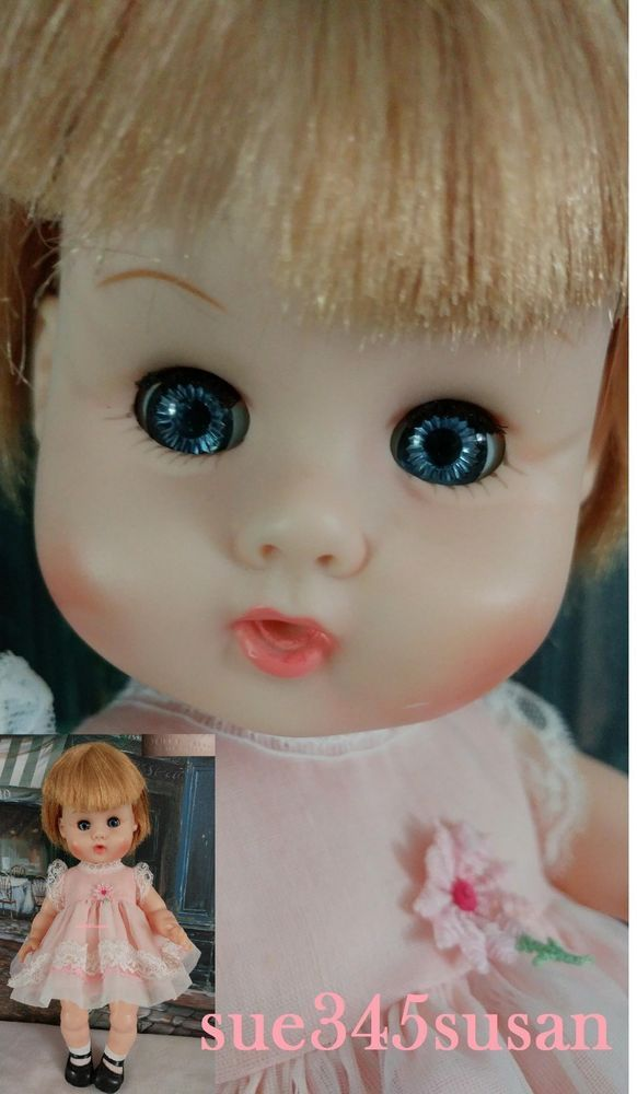 "Vintage 1964 Vogue Ginny Baby Doll 12"" Drink & Wet Sleep Eye with clothes"