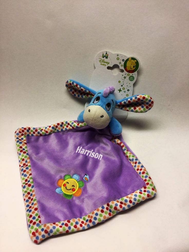 Personalised Disney Eeyore comforter by Say it with Bears http://www.sayitwithbears.co.uk/viewbear/5589