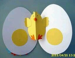 Idea for next year's Easter picture design - egg folds open revealing pop out chick!