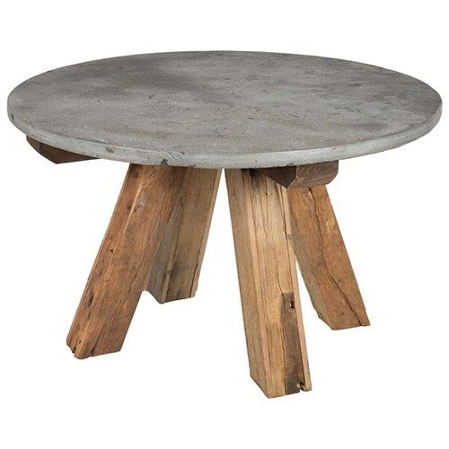 Houtensteen Stone Top Side Table - Recycled Wood - Black & Natural   $689.00 - Milan Direct