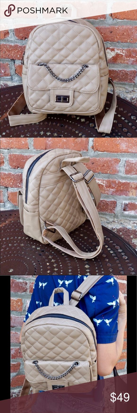 Stylish beige backpack Cute quilted backpack with fashion details. Not full size and not mini. This backpack could be just right to carry your things hands free.  Approximately 11 x 10.75 x 3.25 Pink Haley Bags Backpacks