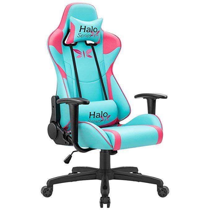Jummico Gaming Chair Adjustable Racing Chair Girl Series Specialty Design Ergonomic Comfortable Swivel Computer Chai Racing Chair Gaming Chair Video Game Rooms