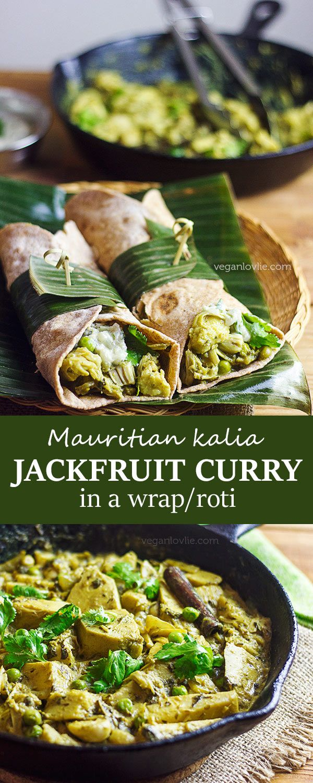Kalia Jackfruit Curry Recipe served in a wrap/roti   Watch the video recipe: https://youtu.be/qgxZoe7AdHY   veganlovlie.com