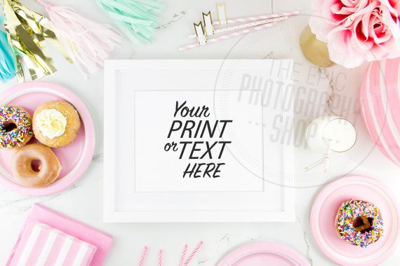 Print Background / Blank Frame / Styled Stock Photography / Product Photography / Staged #Photography / #Pink / #Gold / #Party / #Cute / P002  #Donuts