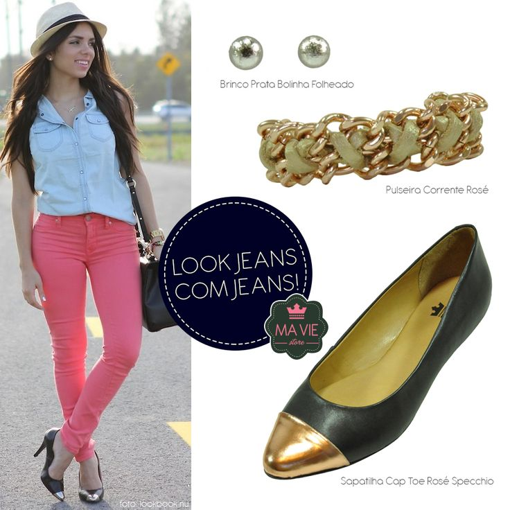 Look Jeans com jeans com sugestão de acessórios MA VIE store! Adoramos o resultado, e vocês? ;)