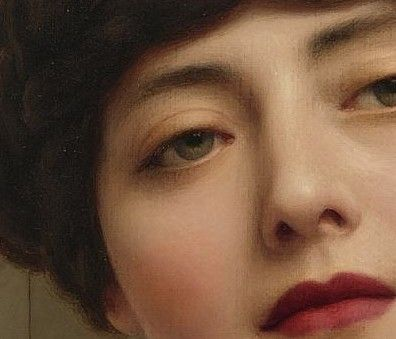 Details of John William Godward's: Eurypyle (1921) + lipstick edit - Contemplation (1903)