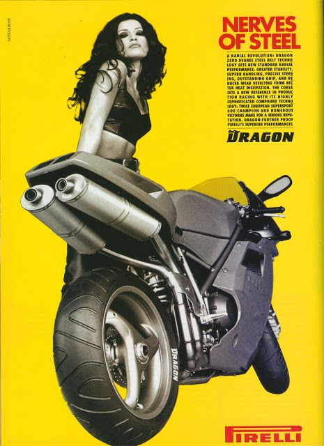 Pirelli advertising featuring Ducati 916