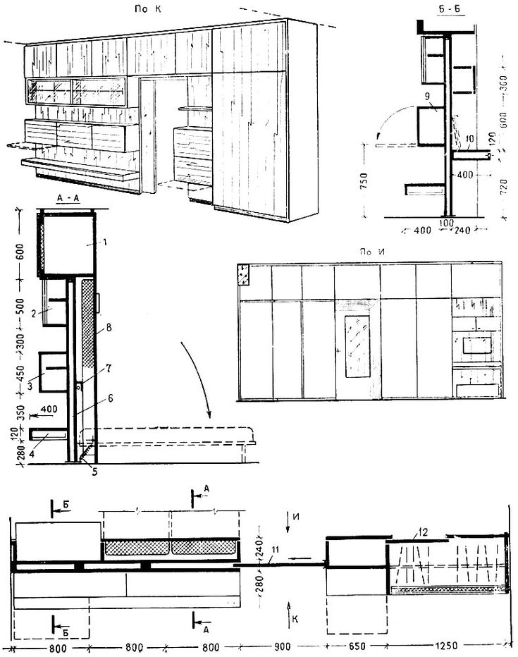 Шкаф-перегородка с откидными кроватями и раздвижной дверью.(1 - антресоль; 2 - шкаф подвесной застекленный; 3 - шкаф за дверями; 4 - полка подвесная с выдвижными ящиками; 5-пружина; 6 - промежуточная перегородка; 7 - светильник; 8 - откидные кровати; 9 - подвесной шкаф с откидной дверью; 10 - секретер с зеркалом на крышке: 11 - раздвижная дверь с зеркалом; 12 - шкаф с раздвижными дверями. )