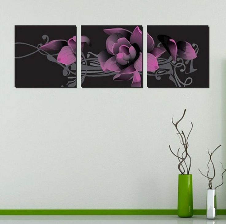 Amazon.com: Hot Sell 3 Panels 40 x 40 cm Modern Wall Painting Beautiful Dark Red Flowers Picture Home Decorative Art Paint On Canvas Prints: Posters & Prints