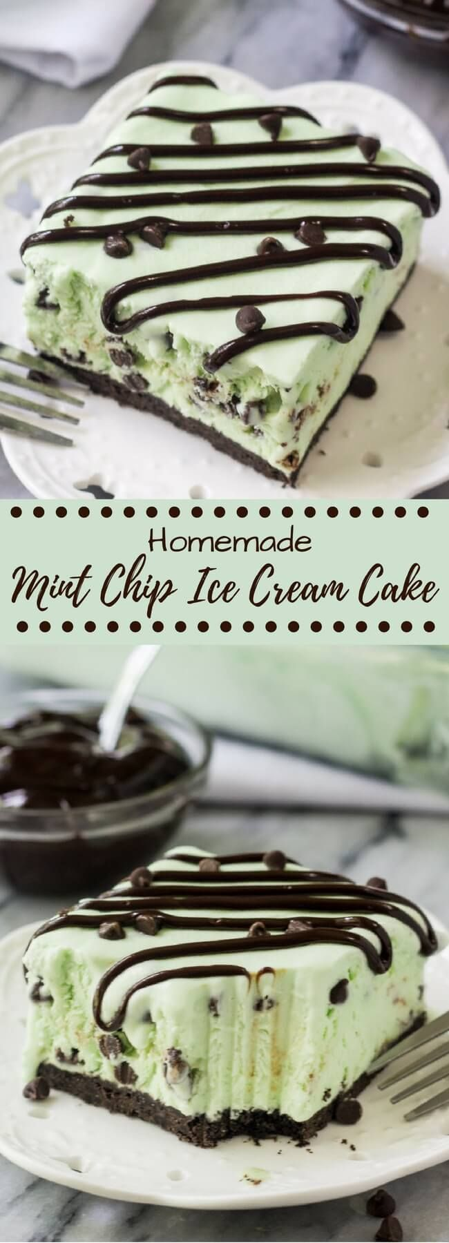 No Churn Mint Chip Ice Cream Cake has an Oreo cookie crust and the creamiest mint chip ice cream ever. Made from scratch without an ice cream maker - it's so easy it is to make this homemade ice cream cake!