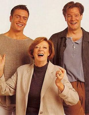 Maggie smith with sons Toby Stephens and Chris Larkin: Dame Maggie, Maggie Smith, Famous People, Sons, Boys, Chris Larkin, Toby Stephens, British Theatres, Downton Abbey