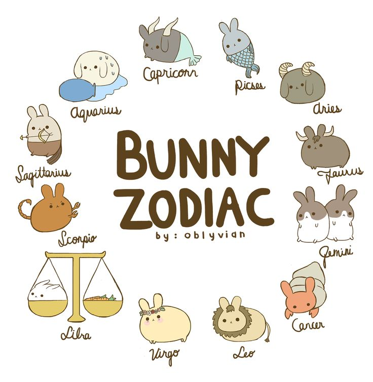 the bunny zodiac ✿☽ which one are you? i'm a pisces bunny ♡ edit: author put aquarius and capricorn in the wrong order sorries :~(