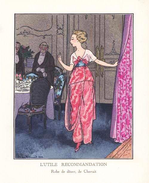 Madeleine Chéruit, dinner dress, illustration by Pierre Brissaud, published in La Gazette du Bon-Ton, 1912