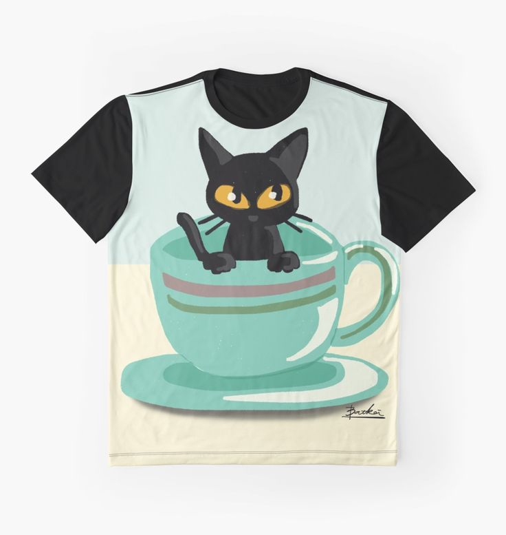 Cat in the cup by BATKEI #Redbubble #cat #猫 #cats #feline #tshirts #clothing #Tシャツ