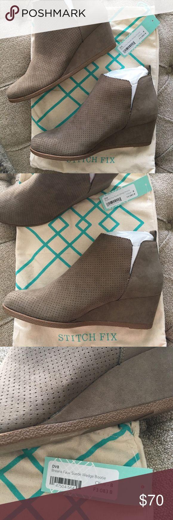 Stitch Fix - DV8 Breana Faux Wedge Bootie Size 8 These are NWT wedge booties from StitchFix. Perfect for Fall!!! DV8 Breana Faux Suede Wedge Booties size 8 color taupe/olive. Will send with duster bag DV8 Shoes Ankle Boots & Booties