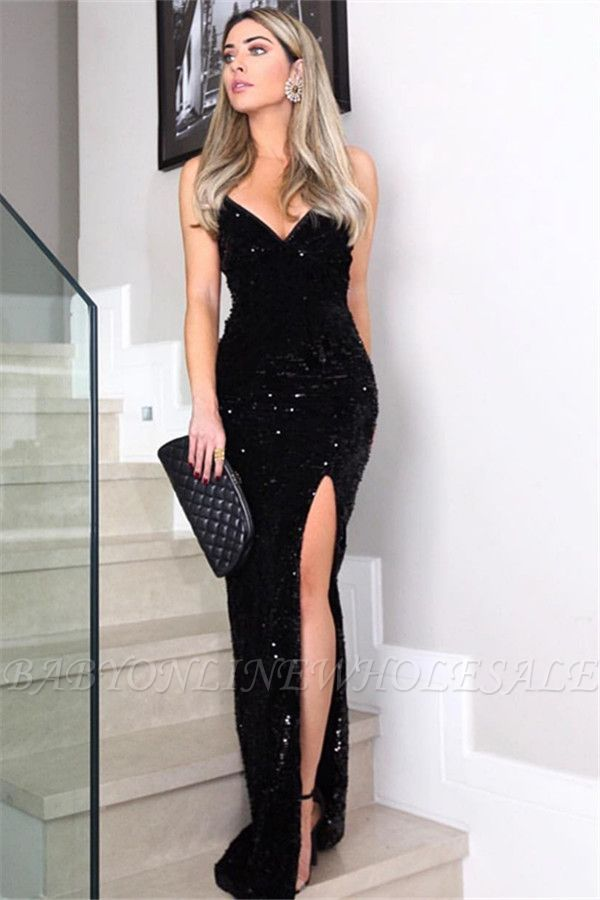 20fcaee657 Chic Sheath Spaghetti-Straps V-Neck Sleeveless Long Prom Dress in ...